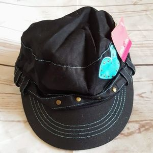 Girls Heart Military Style Hat Black